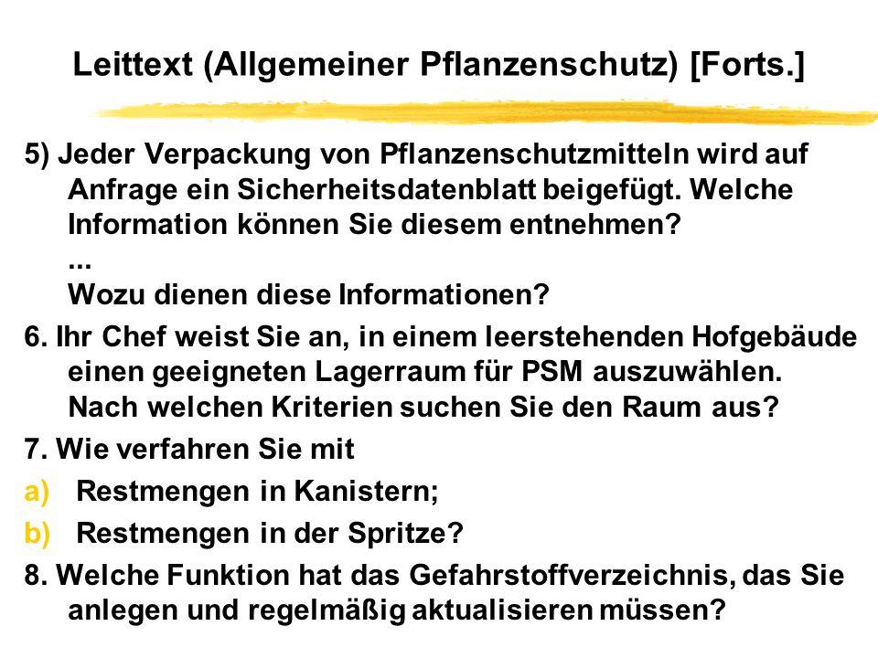 Leittext (Allgemeiner Pflanzenschutz) [Forts.]
